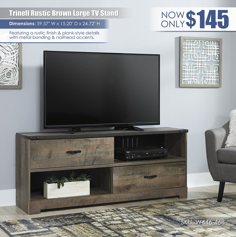 Trinell Rustic Brown Large TV Stand_W446-468