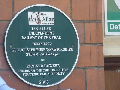 Toddington Station on the GWSR - green plaque - Ian Allan Publishing