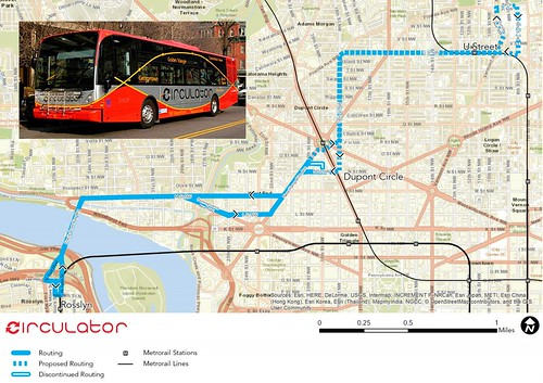 Proposed extension of Dupont Circle-Rosslyn DC Circulator to U Street
