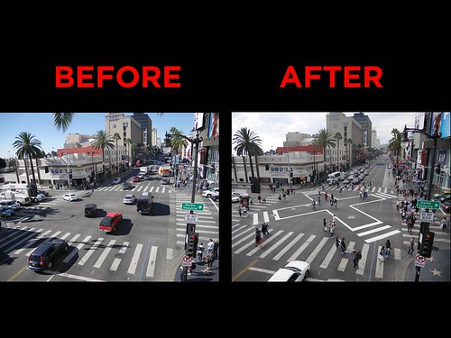 Pedestrian scramble treatment, Hollywood and Highland Avenues, Los Angeles