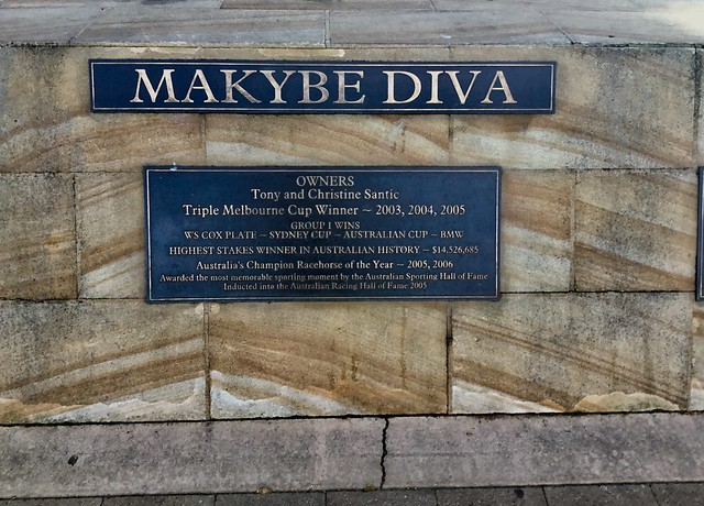 Port Lincoln. Information plaque  about Makybe Diva who won the Melbourne Cup three times. His trainer was Santic of Port Lincoln.