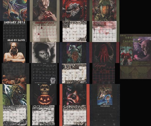 2016 Horror Calendar.