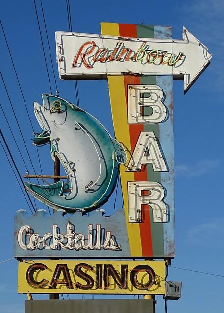 MT, Kalispell-MT 35 Rainbow Bar Neon Sign