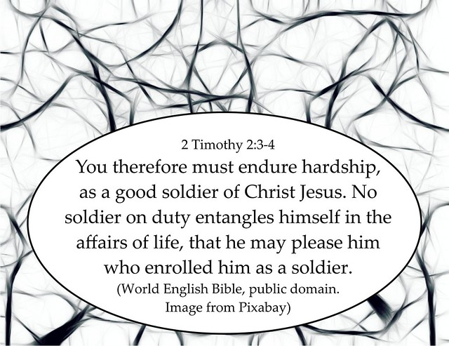 2 Timothy 2 3-4 don't entangle yourself in this world's affairs