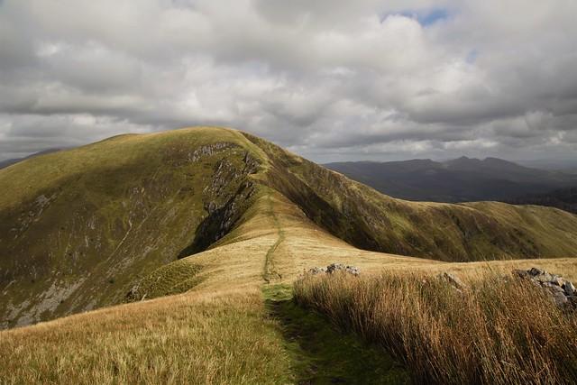 The pathway leading from Mynydd Tal y Mignedd to Mynydd Drws y Coed
