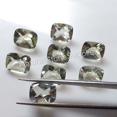 Green Amethyst (Prasiolite) Checkerboard Cushion Cut Loose Gemstone VS Clarity Calibrated Gemstone 10x12mm, 10x14mm, 12x16mm, 13x18mm