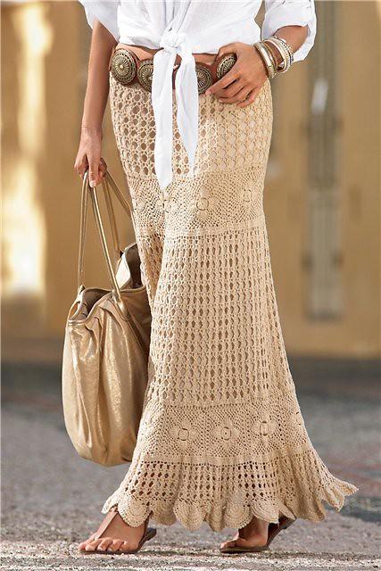 Long crochet skirt for this season