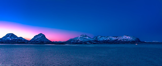 Sunrise along the western water passage between Tustna and Smola islands, Norway-2a