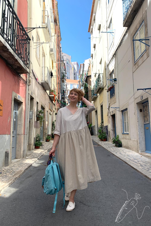 marchewkowa, blog, szycie, rękodzieło, styl japoński, lniana sukienka, Lizbona, lato, sewing, DIY, handmade, linen dress, japanese Mori girl, Lisboa