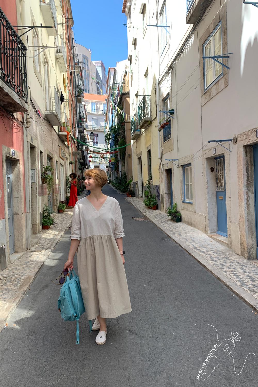 marchewkowa, blog, szycie, rękodzieło, styl japoński, lniana sukienka, Lizbona, lato, sewing, DIY, handmade, linen dress, japanese Mori girl, Lisboa, modern style
