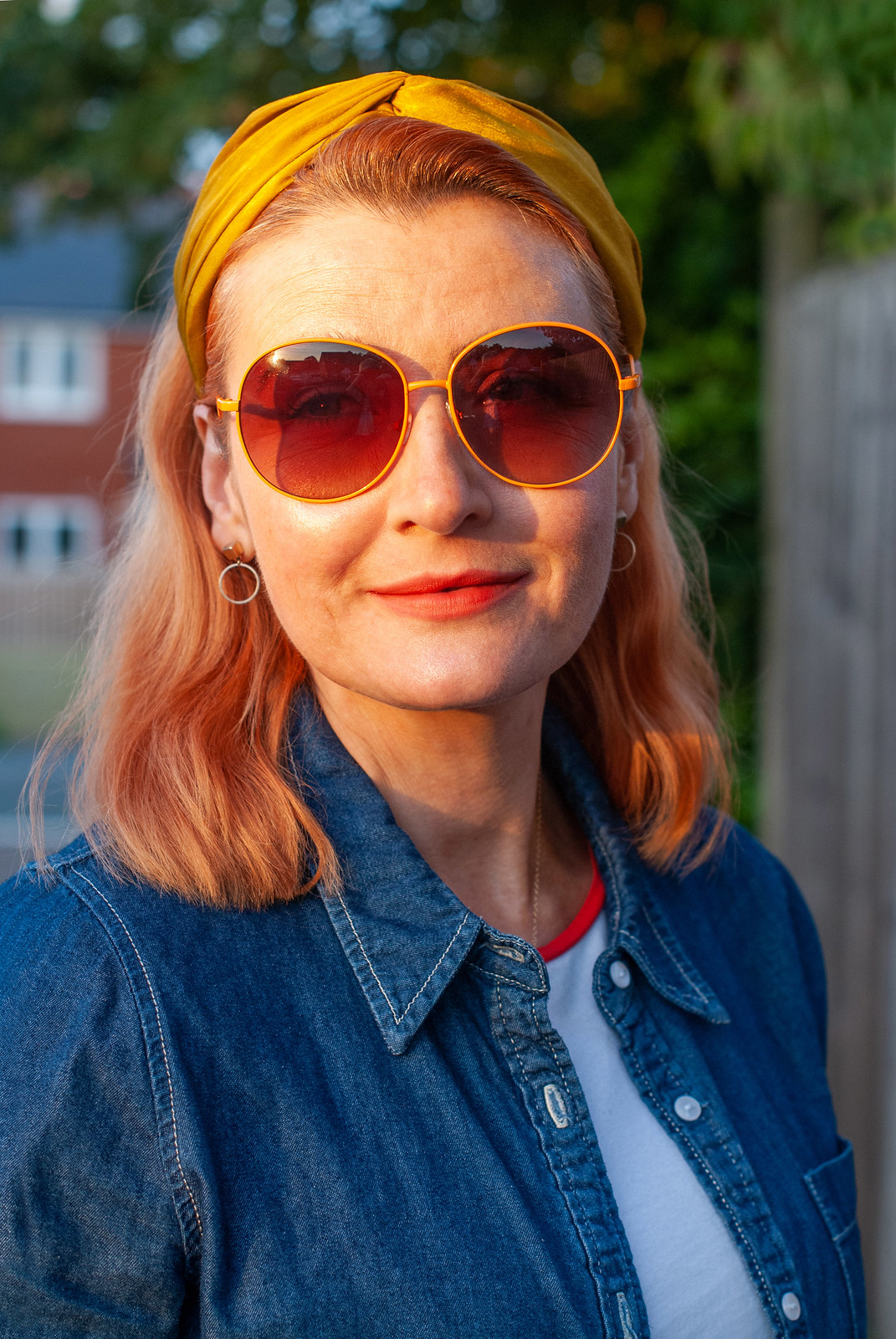 Adding Rainbow Brights to Good Old Double Denim | Not Dressed As Lamb, over 40 style blogger