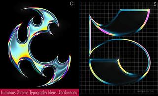 Luminous Chrome Typography art ideas and Designs by Antonia Corduneanu