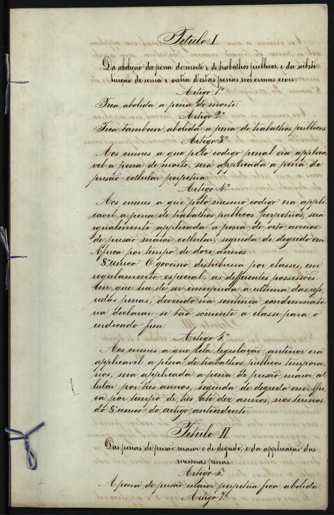 Imagem XI - Título I e parte do II da Carta de Abolição da Pena de Morte em Portugal