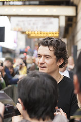 NEW-YORK, USA - OCTOBER 9: Orlando Bloom gives autographs prior to ROMEO AND JULIET performance at Richard Rogers Theater, October 9, 2013, New York, United States