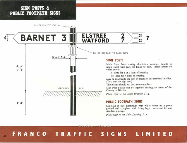 Franco Traffic Signs Ltd - catalogue, c1950 - sign posts and public footpath signs