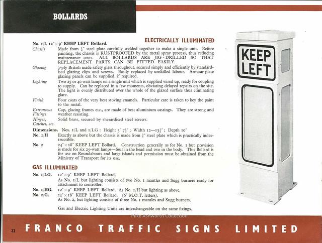 Franco Traffic Signs Ltd - catalogue, c1950 - bollards
