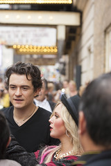 NEW-YORK, USA - OCTOBER 9: Orlando Bloom accompanied young blond lady prior to ROMEO AND JULIET performance at Richard Rogers Theater, October 9, 2013, New York, United States