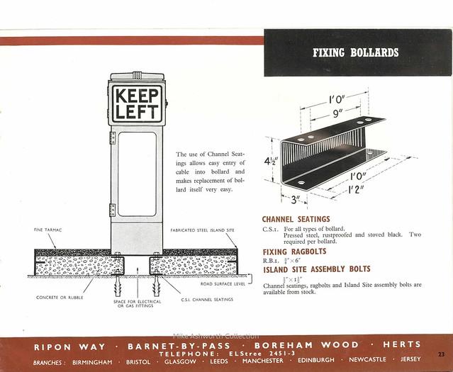 Franco Traffic Signs Ltd - catalogue, c1950 - fixing bollards