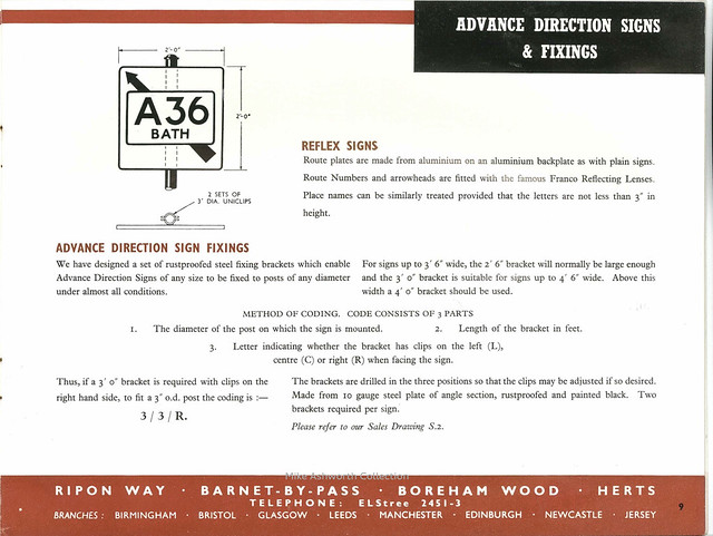 Franco Traffic Signs Ltd - catalogue, c1950 - advance direction signs
