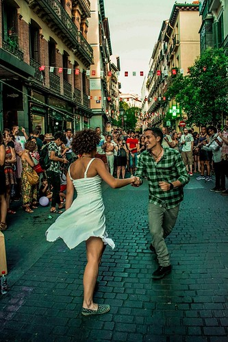 People dancing in the street