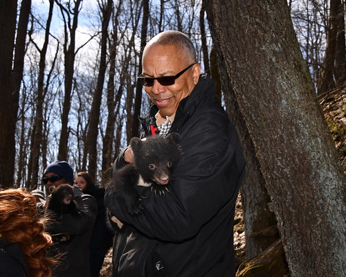 Photo of Lieutenant Governor Boyd Rutherford holding bear cub