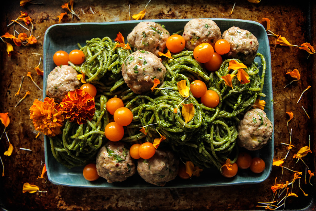 Spinach Walnut Pesto Pasta with Turkey Meatballs from HeatherChristo.com (Vegan and Gluten-Free)