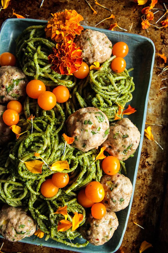 Spinach Walnut Pesto Pasta with Turkey Meatballs from HeatherChristo.com (Vegan and Gluten-Free)