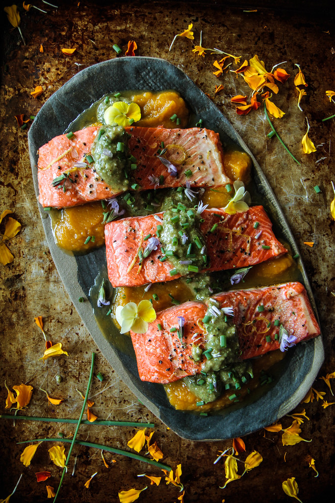 Roast Salmon with Walnut Sauce from HeatherChristo.com (paleo)