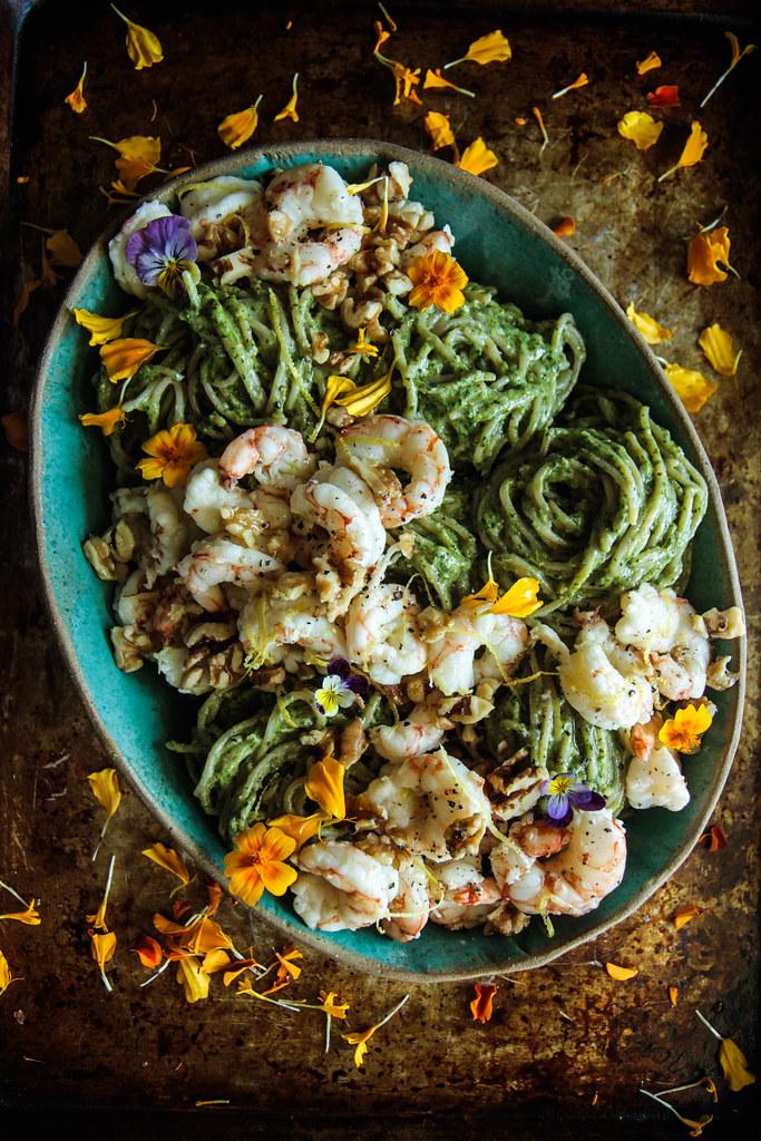 Spinach Walnut Pesto Pasta WIth Garlicky Shrimp (gluten-Free) from HeatherChristo.com