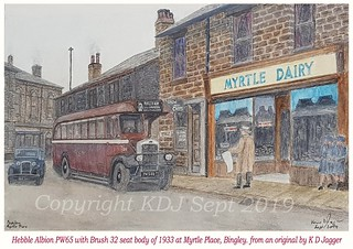 My watercolour painting of  Hebble 96 an Albion PW65 with Brush body new 1933. seen in Bingley, Myrtle place.