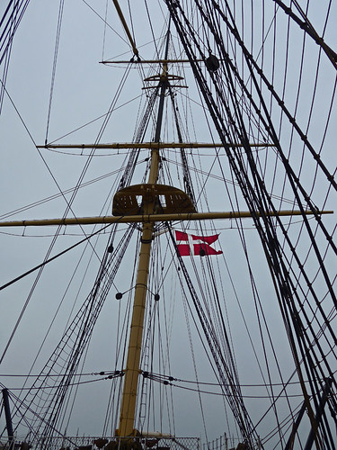 The black lines and a red Danish flag on the Frigate in Ebeltoft, Denmark
