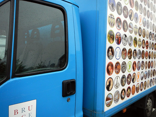 A Bruges city truck with images of all the things that make Bruges special (Belgium)