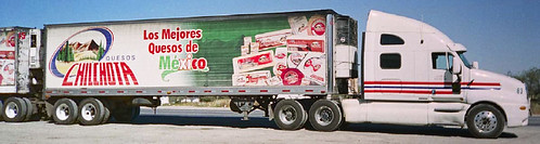 A semi-trailer truck carrying a load of queso cheese in Mexico