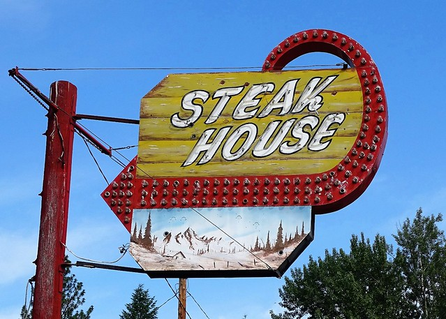 MT, Libby-U.S. 2 M&K Steak House Neon Sign
