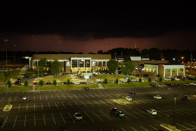 Lightening over The Hoop/Fit, Tennessee Technological University, Cookeville. Putnam County, TN