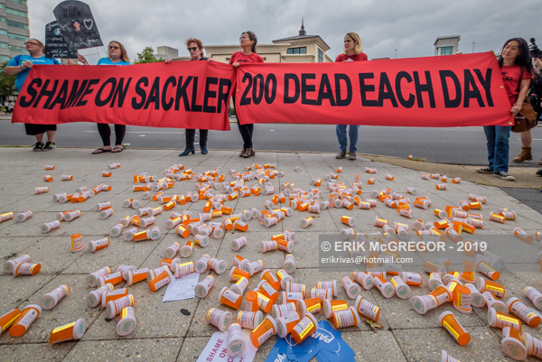 Protest over controversial opioid settlement