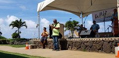 Hawaiian Electric at the first-ever Ka Piko: Celebrating Waimanalo Festival — Sept. 7, 2019: Kirk Kamanu, a Hawaiian Electric employee and director of the Waimanalo nonprofit Napuuomalei, thanked everyone who attended, supported, and organized the event.