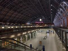 Quiet St Pancras train station at night