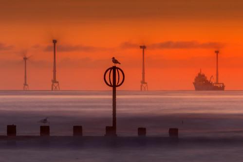 aberdeen aberdeenbeach sunrise sunset red scotland sky landscape longexposure dof depthoffield windfarm canon canon5d eos