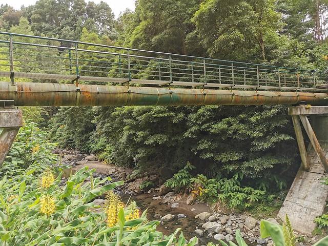 puente tuberia de antigua Central Hidroelectrica de Fajã do Redondo sendero a Cascada Salto do Cabrito Isla de San Miguel Azores Portugal 01