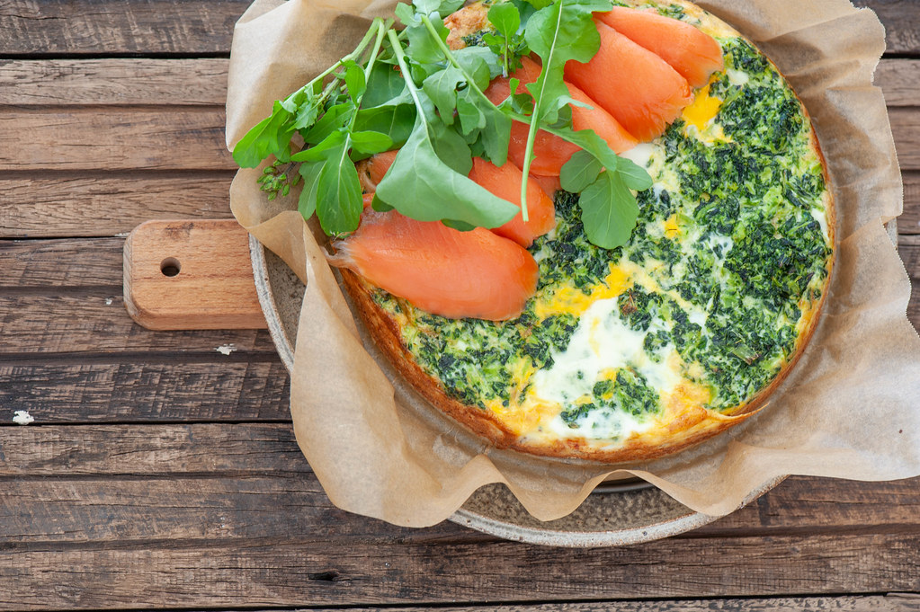 Super Easy Smoked Salmon + Spinach Tart