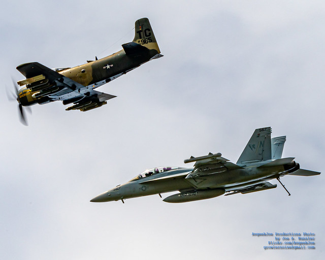HFM Skyraider Leading the Legacy Flight Growler Around the Skagit Clouds