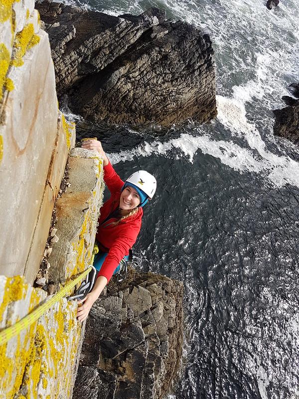 Kirsten sea stack climbing