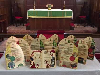 Faith story boards in Dunmanway Church as part of Sam Maguire Trail