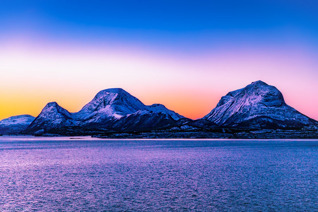 Sunrise along the western water passage between Tustna and Smola islands, Norway-3a