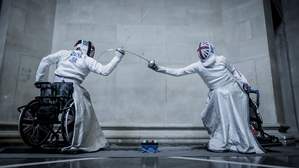 Photo of Piers Gilliver and Dimitri Coutya fencing.