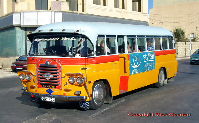 Malta Bedford SB DBY409 route 45 27.6.2011 final week on ATP routes - now restored and works for Malta Bus Co-op