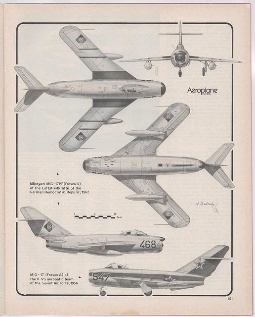 Mikoyan MiG-17, by M. Badrocke, 'Aeroplane Monthly', 1976.