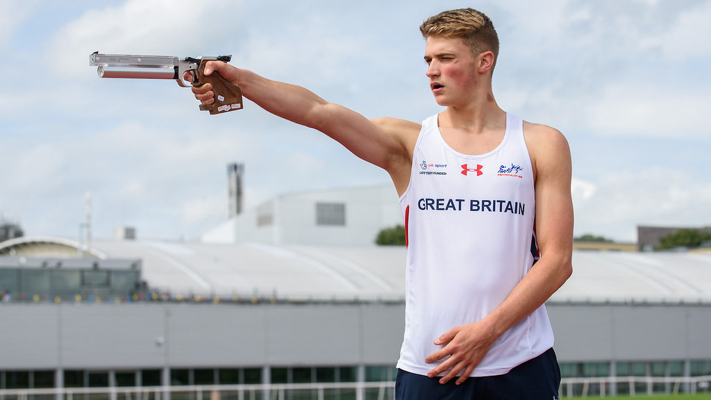 A student taking part in the Modern Pentathlon GB Media Day at the Sports Training Village