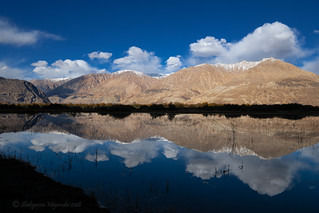 Reflection of mountains on water at Nubra Valley, Ladakh